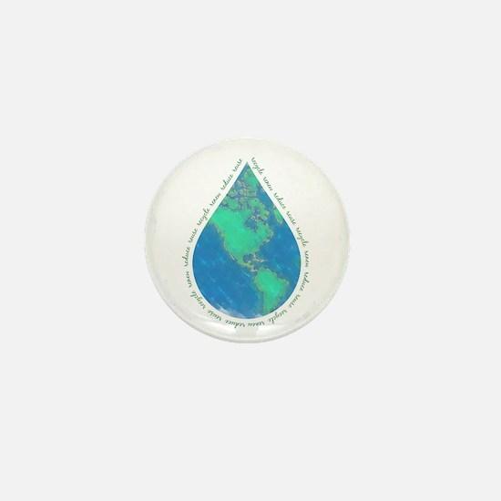 Water Drop Earth Mini Button