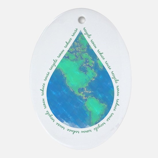 Water Drop Earth Oval Ornament