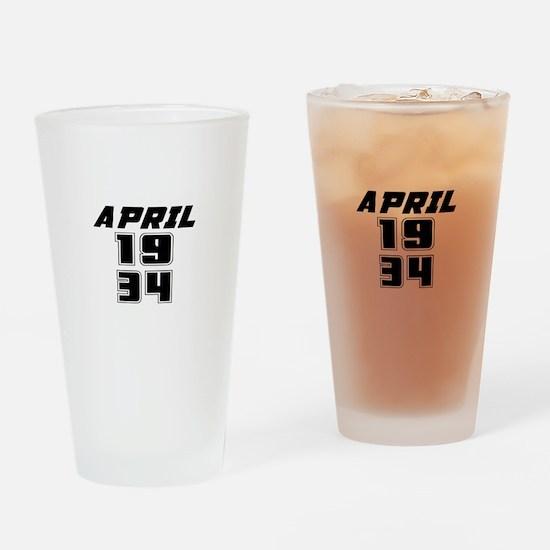 April 1934 Birthday Designs Drinking Glass
