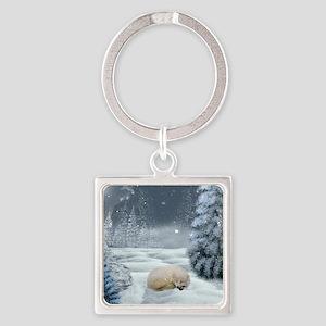 Sleeping polar fox Keychains