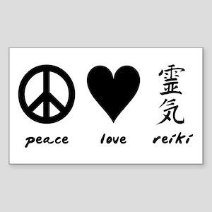 Peace, Love & Reiki Rectangle Sticker