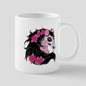 Sugar Skull Horse With Pink Roses Mugs
