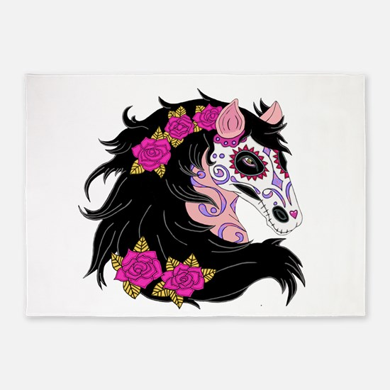 Sugar Skull Horse With Pink Roses 5'x7'Area Rug