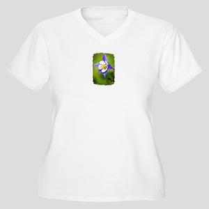 COLUMBINE FLOWER Women's Plus Size V-Neck T-Shirt