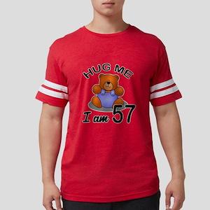 Hug me I Am 57 Birthday Design Mens Football Shirt