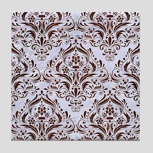 DAMASK1 WHITE MARBLE & REDDISH-BROWN Tile Coaster