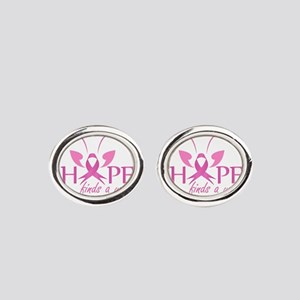 Hope finds a way- Pink ribbon with Oval Cufflinks