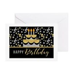 Birthday Gold And Silver Faux Greeting Cards