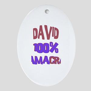 David - 100% Obamacrat Oval Ornament
