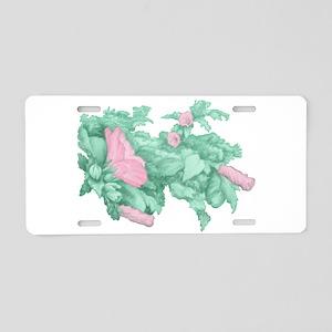 Rose of Sharon Aluminum License Plate