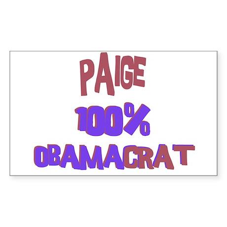 Paige - 100% Obamacrat Rectangle Sticker