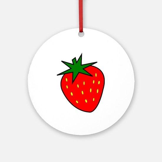 Cute Strawberry Ornament (Round)