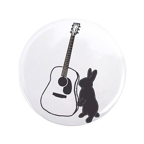 """bunny & guitar 3.5"""" Button"""