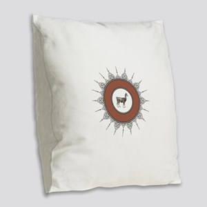 brown alpaca art Burlap Throw Pillow