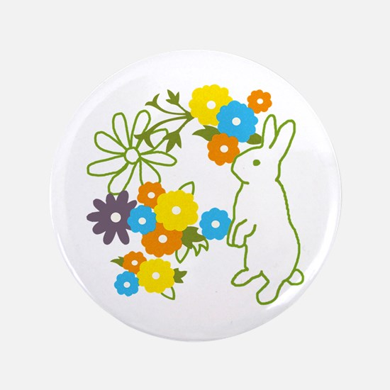 "flower bunny 3.5"" Button"