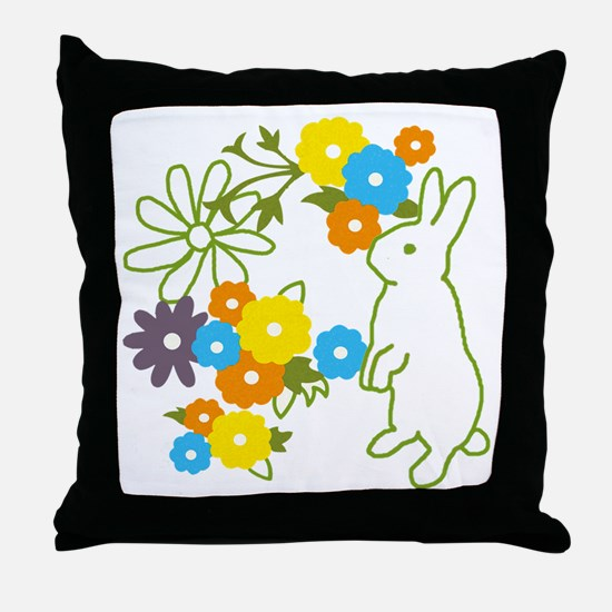 flower bunny Throw Pillow