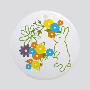 flower bunny Ornament (Round)