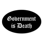 Gov't is Death Oval Sticker (50 pk)