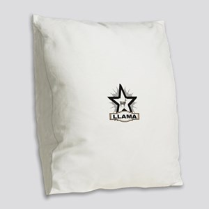 llama white star tag Burlap Throw Pillow