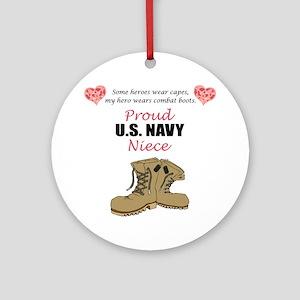Proud US Navy Niece Ornament (Round)