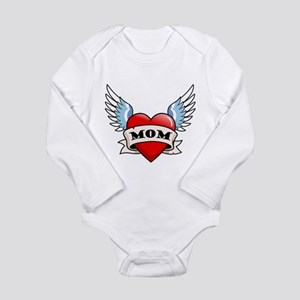 Mom Tattoo Winged Heart Infant Bodysuit Body Suit