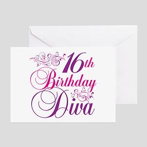 16th Birthday Diva Greeting Cards (Pk of 20)