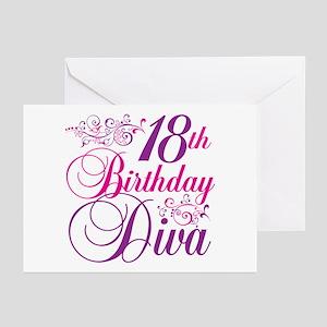 18th Birthday Diva Greeting Cards (Pk of 20)