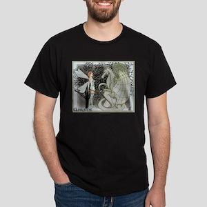 Guardians, Dragon and Fae art Dark T-Shirt