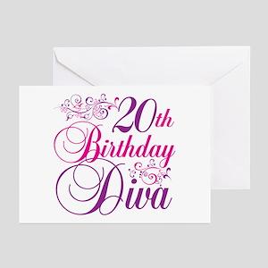 20th Birthday Diva Greeting Cards (Pk of 20)