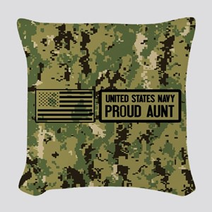 U.S. Navy: Proud Aunt (Camo) Woven Throw Pillow