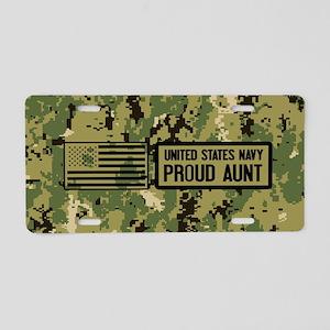 U.S. Navy: Proud Aunt (Camo Aluminum License Plate