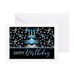 Birthday Cake In Blue And Silver Greeting Cards
