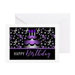 Birthday Cake In Purple And Silver Greeting Cards