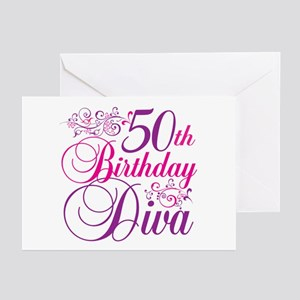 50th Birthday Diva Greeting Cards (Pk of 20)