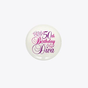 50th Birthday Diva Mini Button