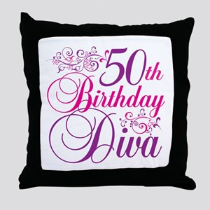 50th Birthday Diva Throw Pillow