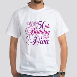 50th Birthday Diva White T-Shirt
