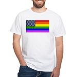 Gay American Flag White T-Shirt