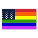 Gay American Flag Rectangle Sticker