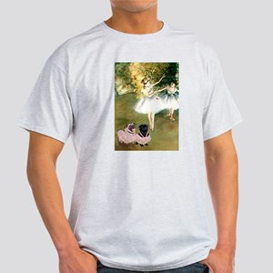 Dancers by Degas with Pug Pair in White T-Shirt