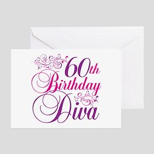 60th Birthday Diva Greeting Cards (Pk of 20)