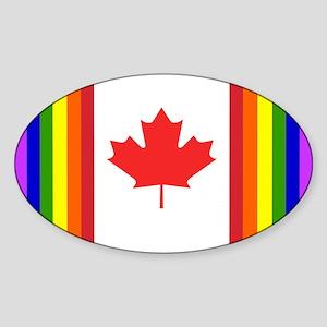 Gay Canada Flag Oval Sticker
