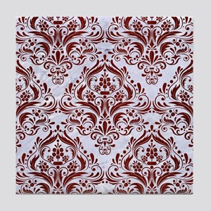 DAMASK1 WHITE MARBLE & RED WOOD (R) Tile Coaster