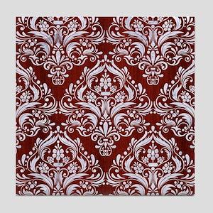 DAMASK1 WHITE MARBLE & RED WOOD Tile Coaster