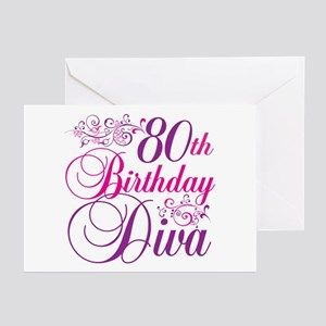 80th Birthday Diva Greeting Cards (Pk of 20)
