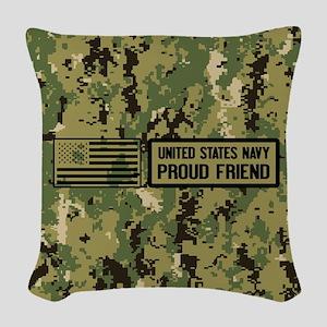 U.S. Navy: Proud Friend (Camo) Woven Throw Pillow