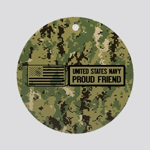U.S. Navy: Proud Friend (Camo) Round Ornament