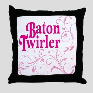 Baton Twirler Throw Pillow