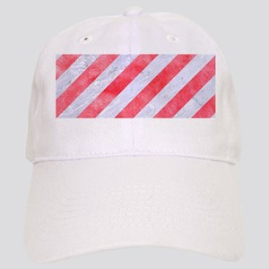STRIPES3 WHITE MARBLE & RED WATERCOLOR (R) Cap