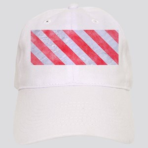 STRIPES3 WHITE MARBLE & RED WATERCOLOR Cap